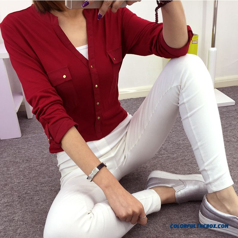 2016 Spring Wholesale Stitching Medium-long-sleeved Knit Shirt Women Blous
