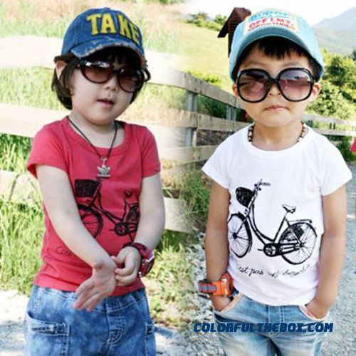 2016 Summer Korean Version Of The New Cute Bicycle Patterned Kids Girls Cotton Short-sleeved T-shirt