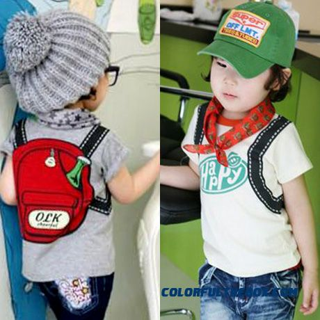 2016 Summer New Leisure Backpack Boys And Girls Kids Baby Short Sleeve T Shirt