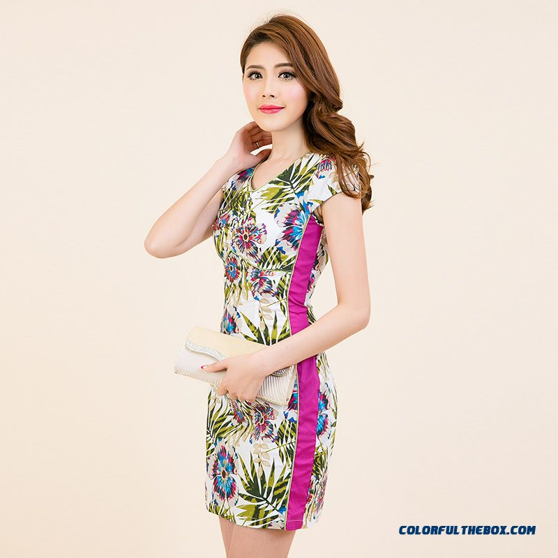 2016 Summer New Middle-aged Ladies Fashion Printed V-neck Dress