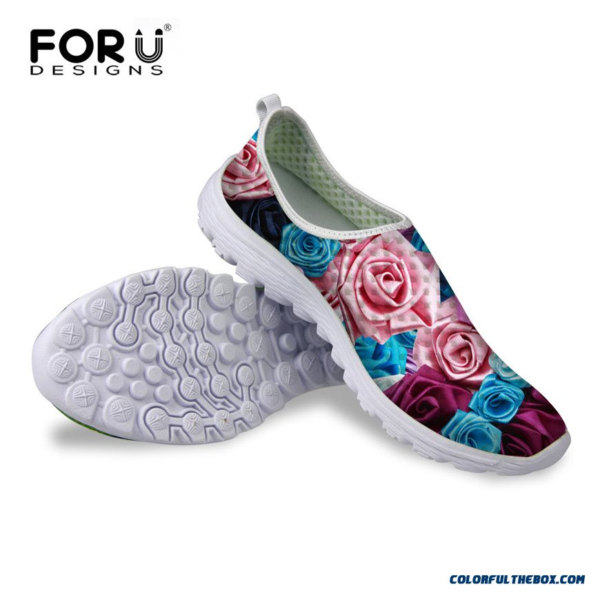 2016 Summer Popular Unisex Lovers Super Light Mesh Shoes,breathable Sport Walking Shoes For Women Men Casual Shoes Flower Print
