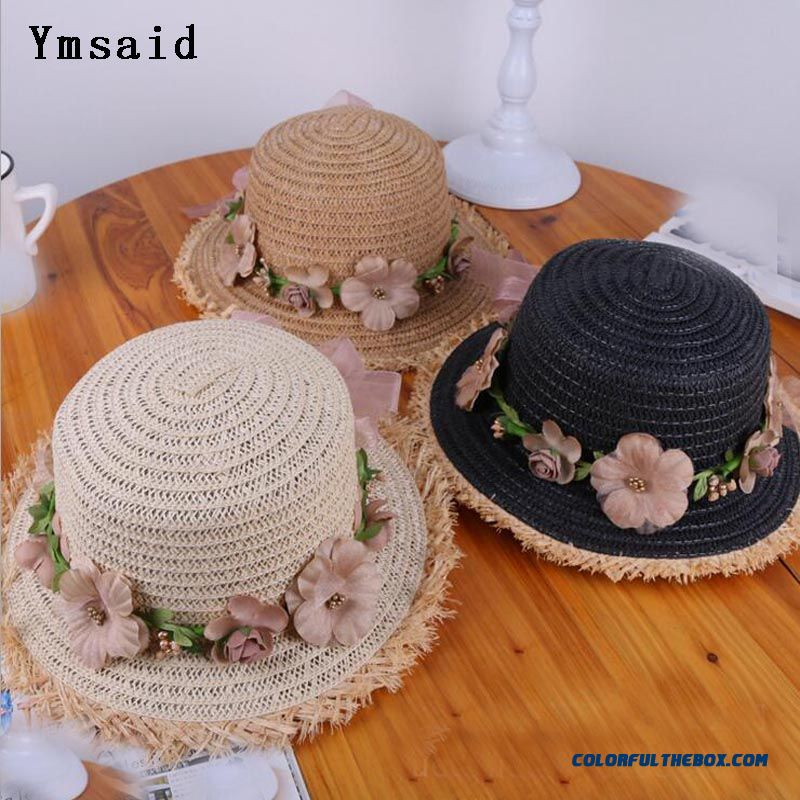 2018 New Summer Fashion Sun Hats For Women Flower Floral Seaside Short Eaves Raffia Straw Hat Girls Flat Top Straw