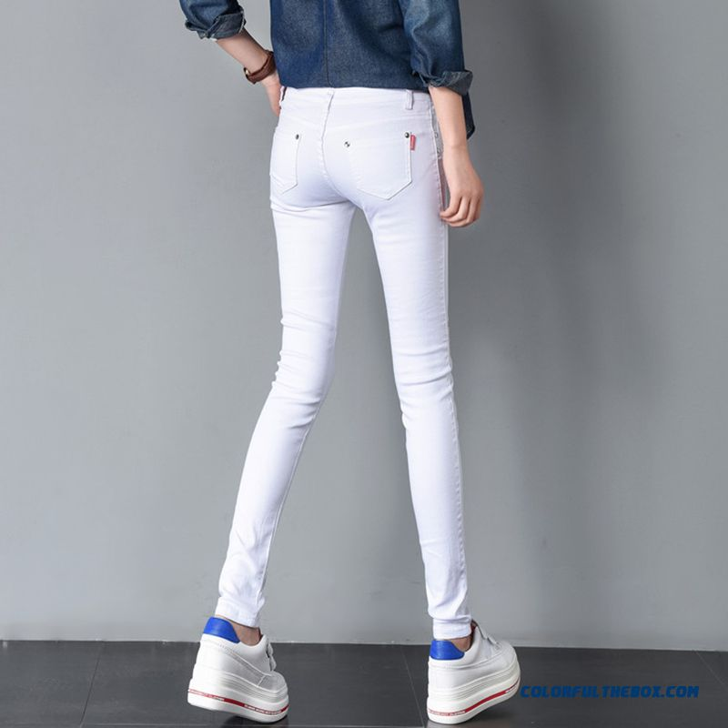 2018 Spring Women's Basic Pants Pencil Casual Trousers Elastic Pants For Women Slim Ladies Jean Trousers Female Many Color - more images 1