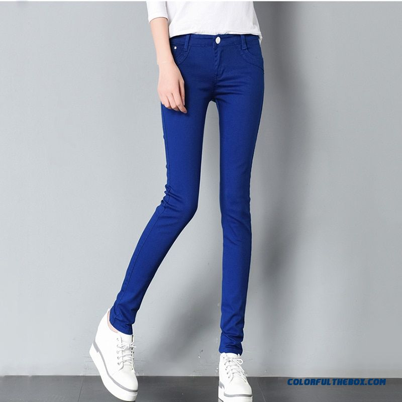 2018 Spring Women's Basic Pants Pencil Casual Trousers Elastic Pants For Women Slim Ladies Jean Trousers Female Many Color - more images 2