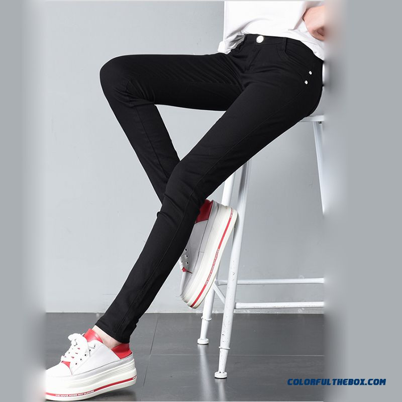 2018 Spring Women's Basic Pants Pencil Casual Trousers Elastic Pants For Women Slim Ladies Jean Trousers Female Many Color - more images 3