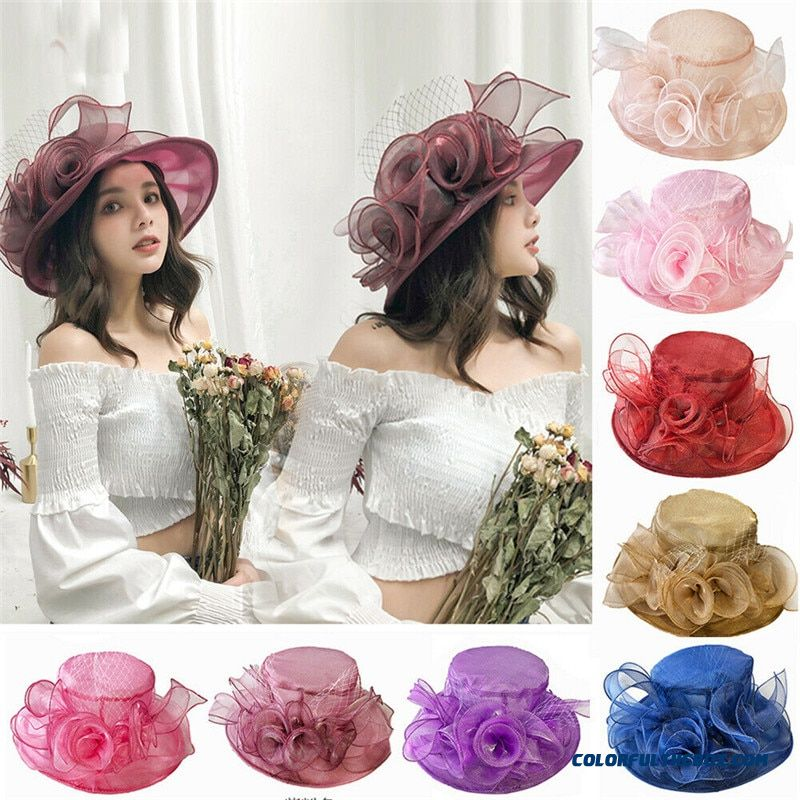 2019 New 9-colors Women Kentucky Derby Sun Hat Wide Brim Shinning Flowers Decorated Wedding Tea Party Church Organza Hats
