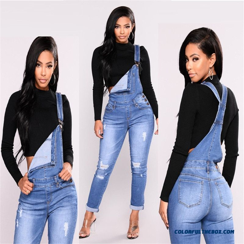 2019 New Fashion Casual Commuter Hole Fashion Elastic One-piece Denim Overalls Women's Jeans C0801