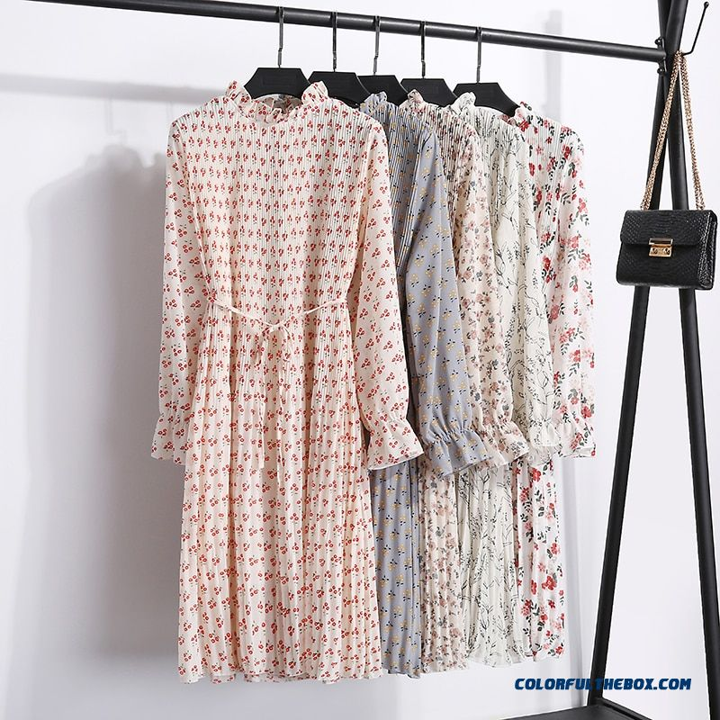 2019 New Fashion Spring Autumn Chiffon Dresses Women Print Dress Casual Cute Floral Long Bowknot Dresses Long Sleeve Thick Dress