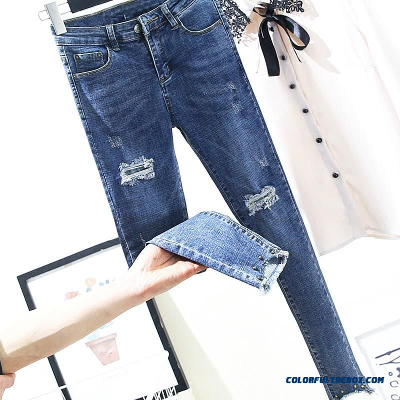2019 New Skinny Pencil Jeans Female Hole Blue Pants Cotton Ripped Ankle Length Blue Women Jeans Trousers Pants Plus Size