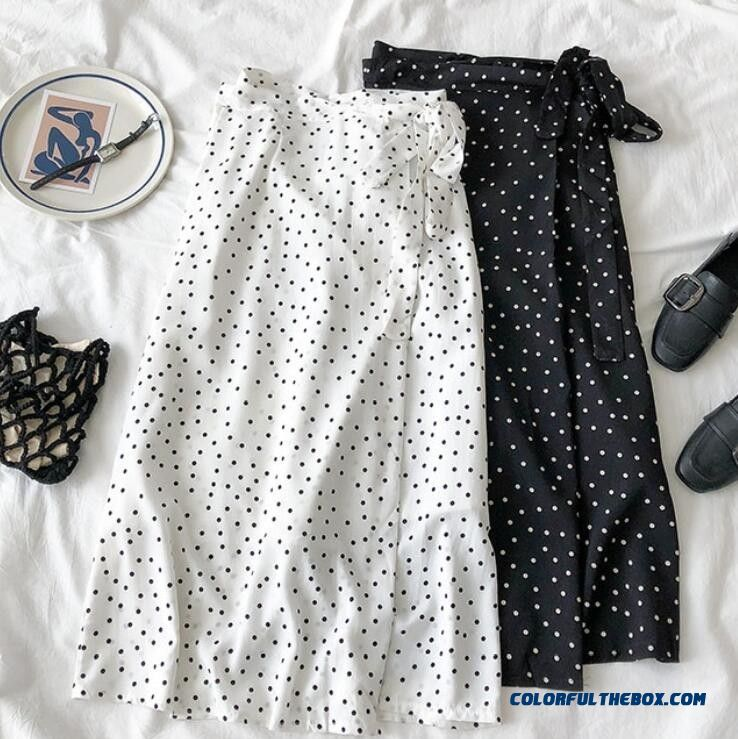 2019 New Women High Waist Polka Dots Skirt Elegant Midi Long Skirts Wrap Dots Chiffon Skirt Korean Fashion