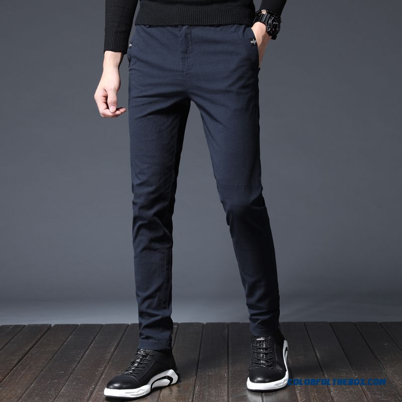 2019 Pants Skinny Summer New Slim Dark Pure Blue Cotton Men's Leisure Trend