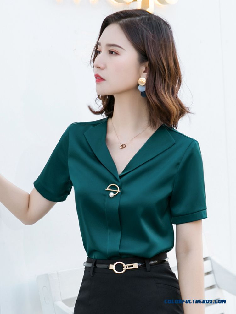 2019 Shirt New Summer Short Sleeve Women's Temperament Pullovers Work Fashion Professional