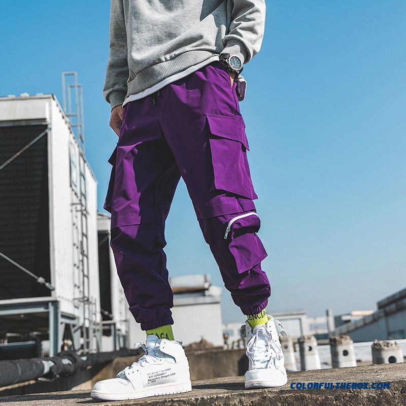2019 Spring Cargo Pants Men Cotton Drawstring Many Pockets Joggers Trousers Purple Black Ankle Banded Male Casual Pants Binhiiro