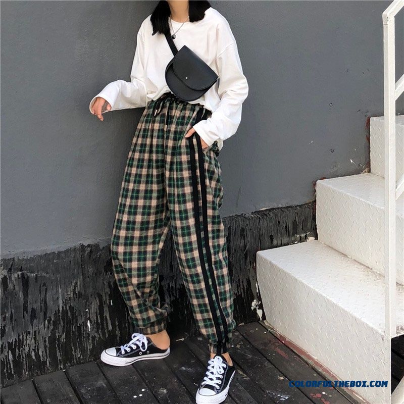 2019 Spring Harajuku Red Green Plaid Pants Women Korean Retro Casual Elastic Waist Harem Pants Streetwear Trousers Female