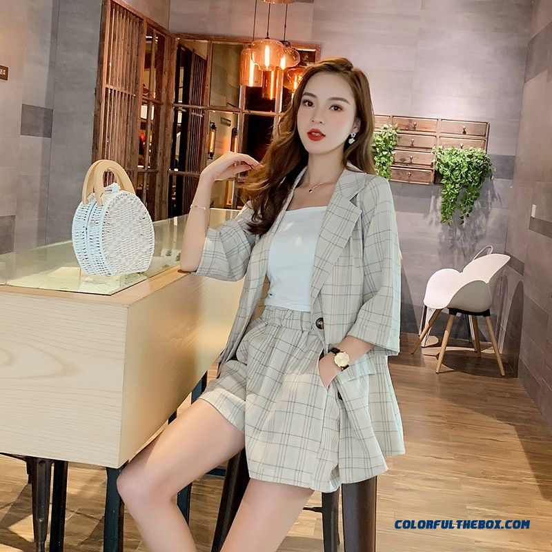 2019 Summer Casual Plaid Short Pant Suits Women Single Breasted Notched Blazer Jacket Hot Shorts Casual 2 Pieces Set