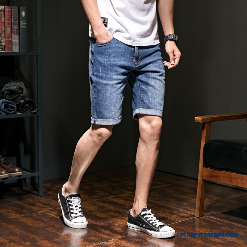 2019 Summer Short Pants Trend Europe New Blue Slightly Men's