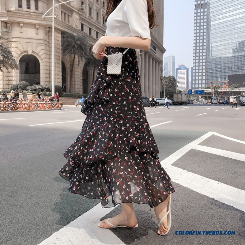 2019 Summer Women Midi Skirts Korean Boho Bohemian Ruffles Ladies Beach Holiday Polka Dot Layer Flare High Waist Skirt For Women