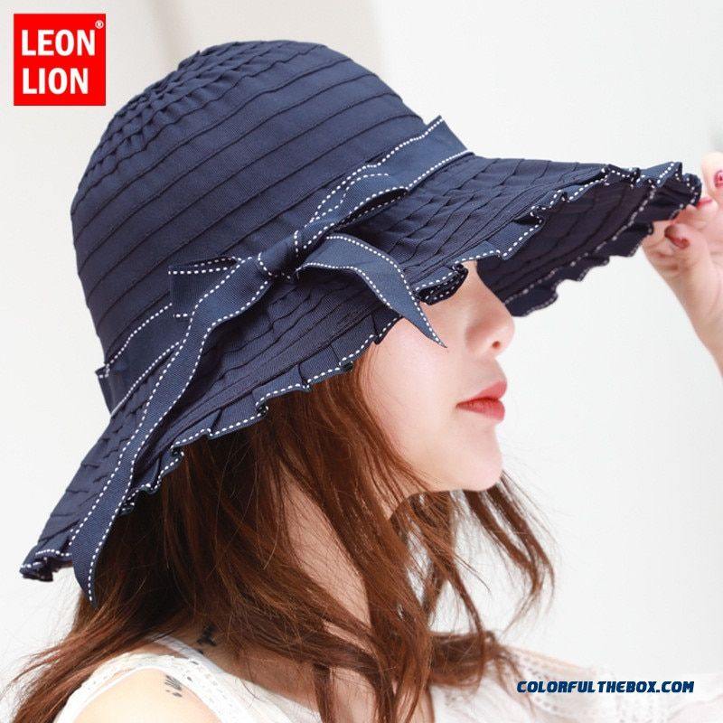 2019 Women Visors Hat Sun Hat New Ladies Bow Big Basin Hat Spring Summer Tide Outdoor Sun Protection Sun Hat Cloth Cap Folding