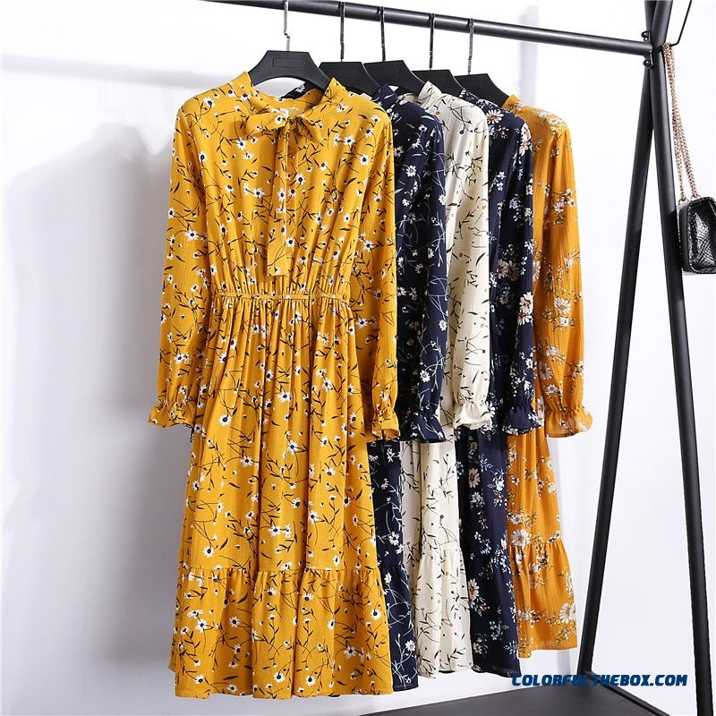 29 Colors Beautiful Fashion Spring Autumn New Women Long Sleeved Dress Retro Collar Casual Slim Dresses Floral Printing Chiffon