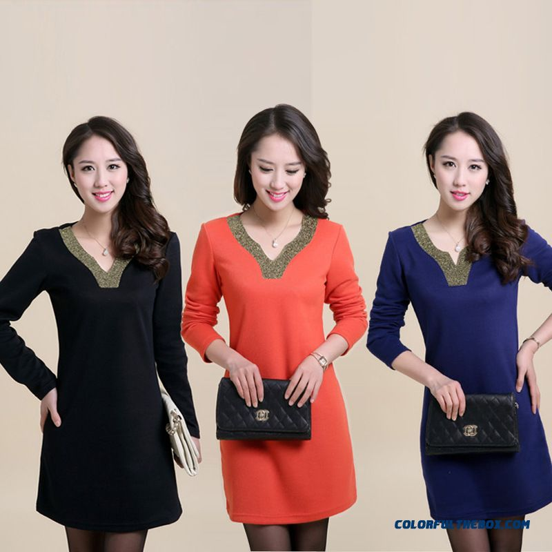 3 Kinds Color Avaliable Large Size Women New Fall Dress Knitted T-shirt Bottoming Shirt