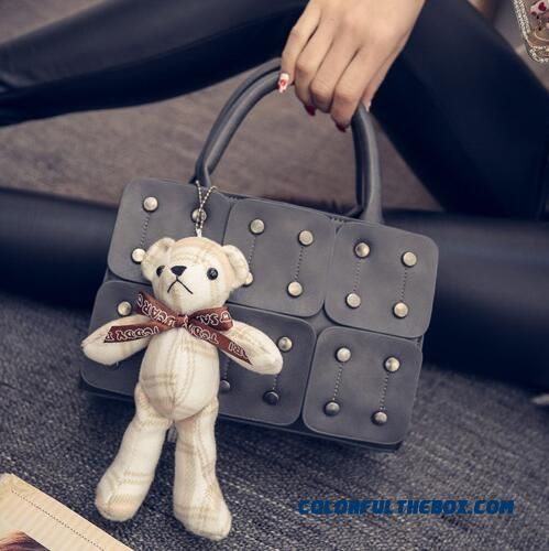 4 Horizontal Rivet Small Square Bag Splice Box Women Top-handle Bags