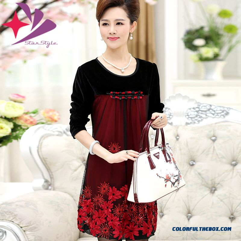 40-50-year-old Middle-aged Women Dress Spring Dress New Dress