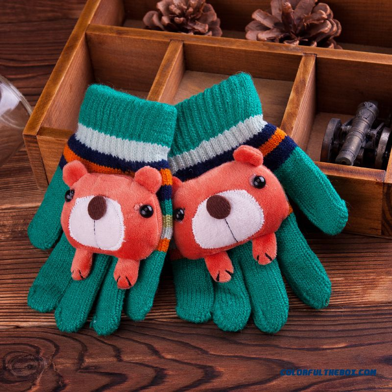 5-6-7-8 Years Old Spring And Autumn And Winter Boys Baby Korean Version Five Fingers Kids Mittens Warmth Cycling Gloves