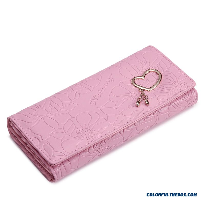 5 Colors Available Women Wallets Three Fold Clutch With Love Decoration Small Bags - more images 2