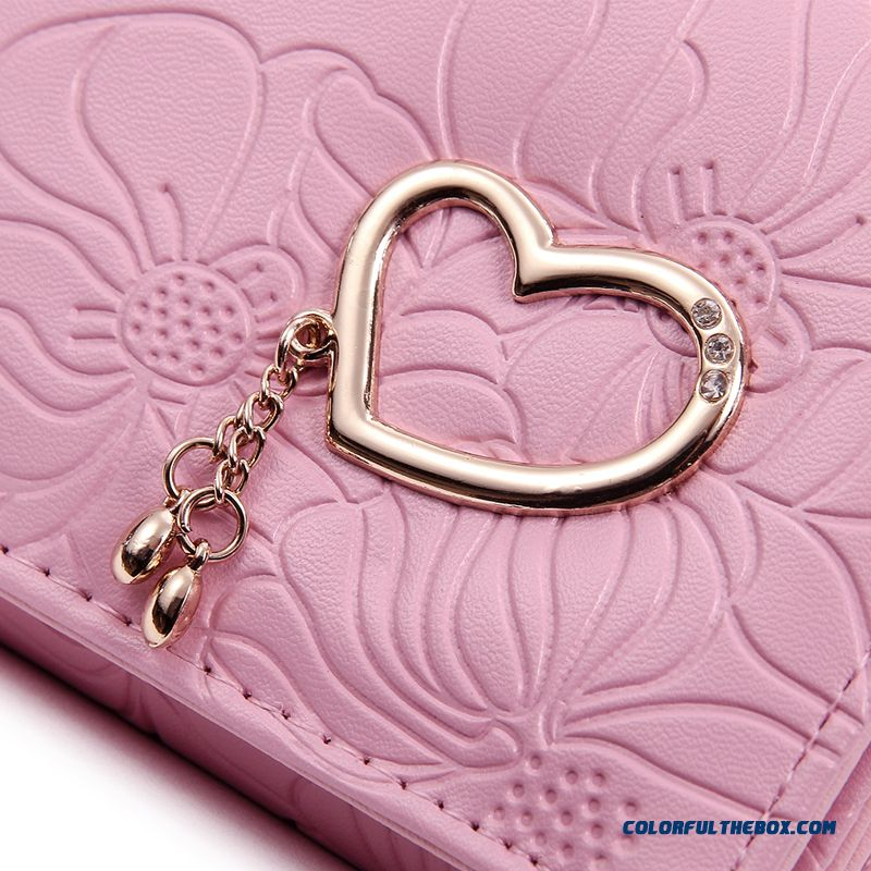 5 Colors Available Women Wallets Three Fold Clutch With Love Decoration Small Bags - more images 3