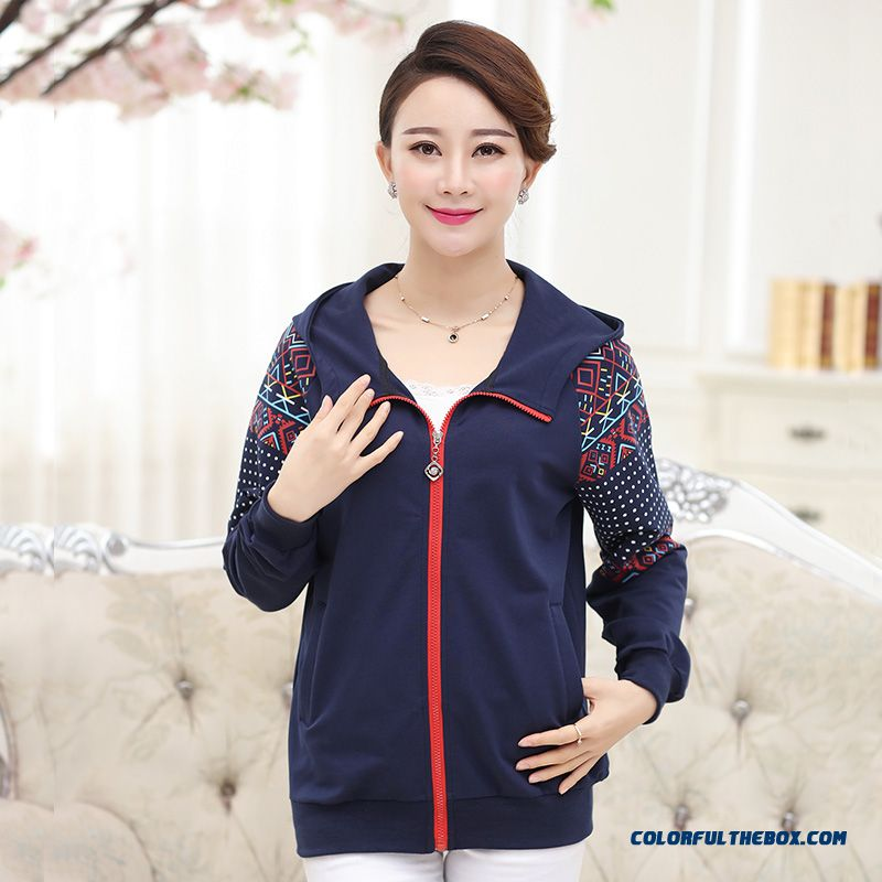 50-60 Years Old Mother Clothing Casual Jacket Women Loose Coats Spring Sapphire Light Gray