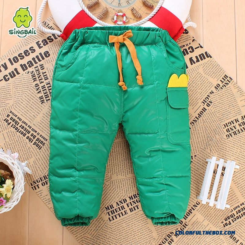 90% White Duck Down Keep Warm Thin And Light Boys And Girls Warm Pants Kids Clothing Laced Green