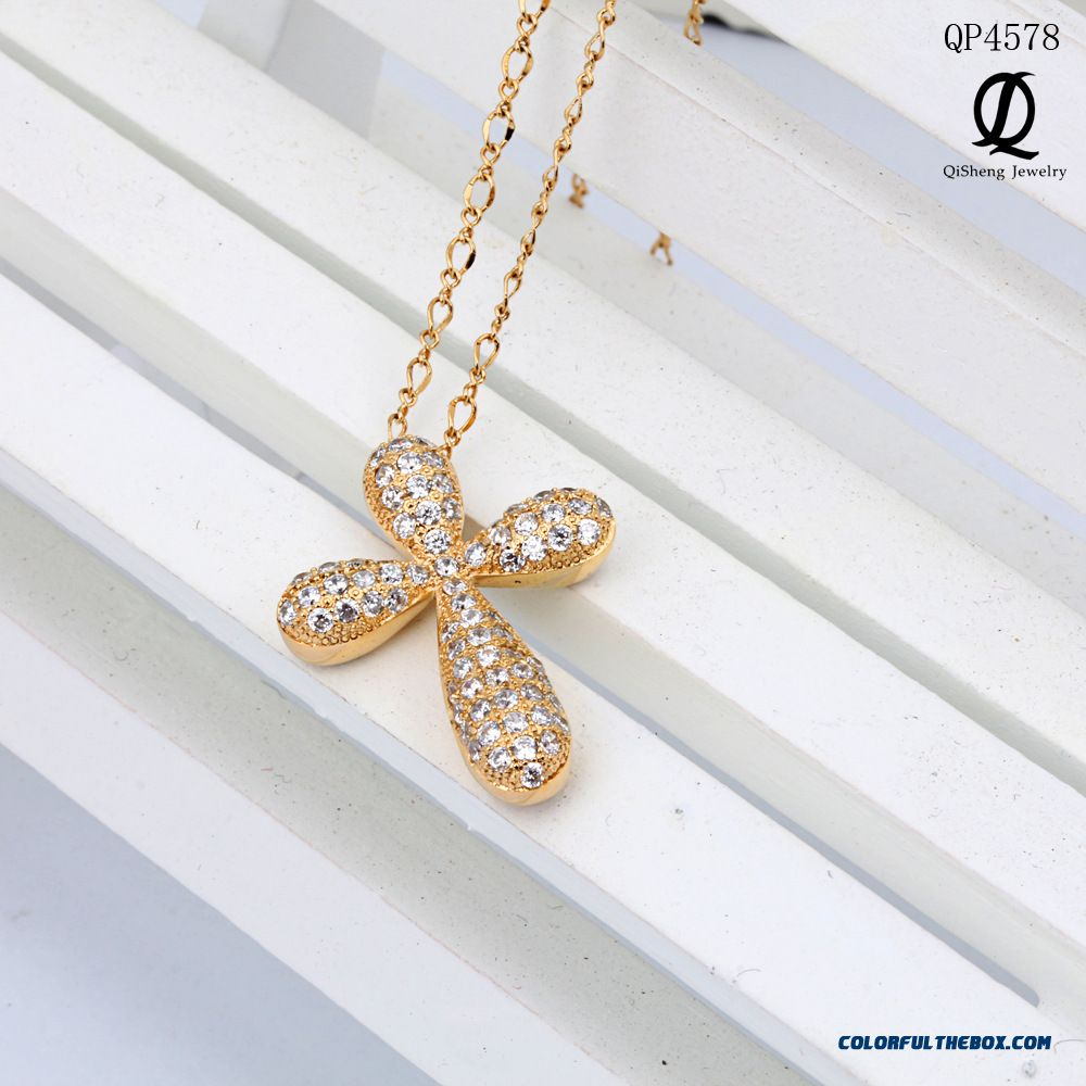925 Sterling Silver Necklace Cross Pendants Micro Pave Diamond Pieces Pendant Necklace Fine Jewelry Women