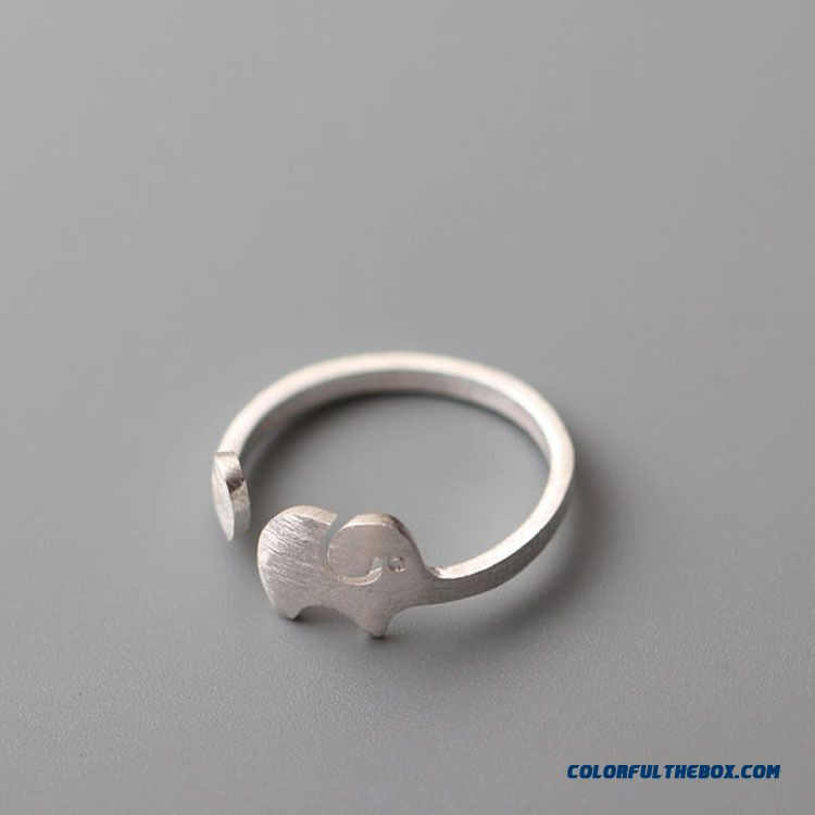 925 Sterling Silver Personalized Fashion Designer Wire Drawing Elephant Ring Jewelry For Women