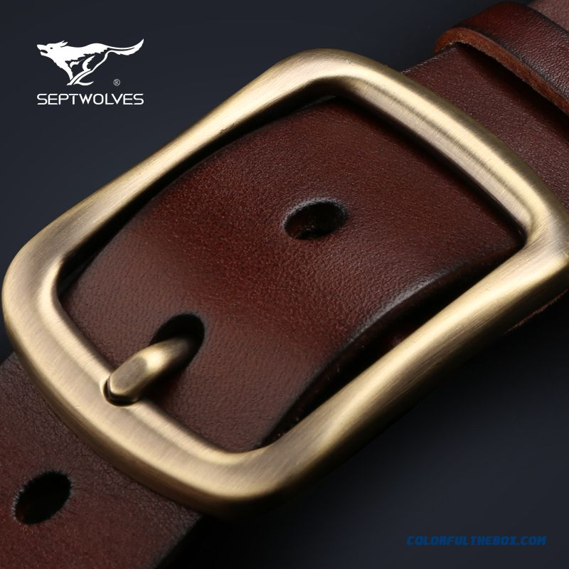 Accessories Septwolyes Men's Leather Belt Pin Buckle First Layer Of Leather Casual Belt Korean Style Youth Men