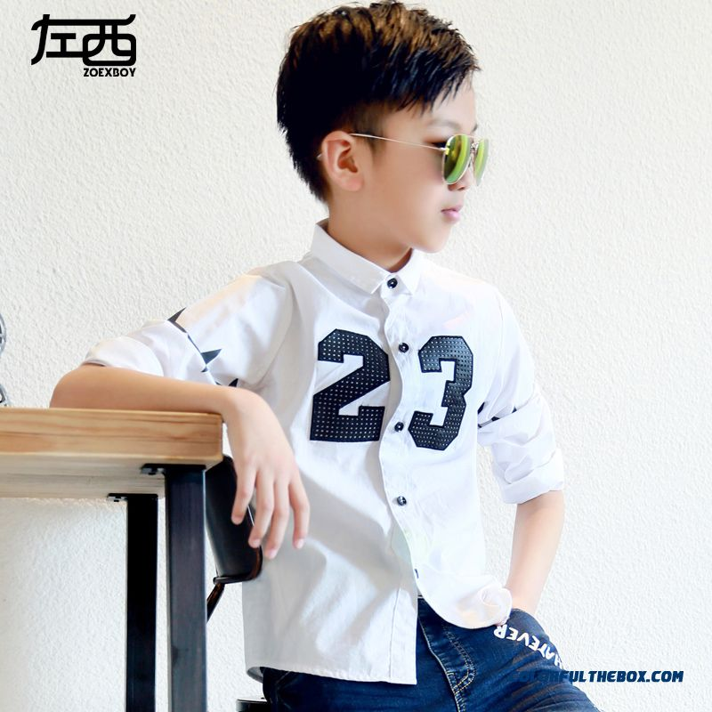 Adolescent Boys Long-sleeved Shirt Lapel Digital 23 Shirts