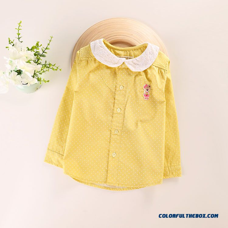 Adorkable Bear Cotton Doll Collar Lapel Girls Long-sleeved Shirt All-match Kids Shirt