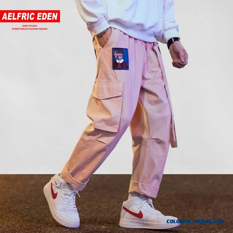 Aelfric Eden Men Joggers Hip Hop Harem Streetwear Pants Ribbons Letter Embroidery Casual Trousers Popular Pink Cargo Pants Ur45