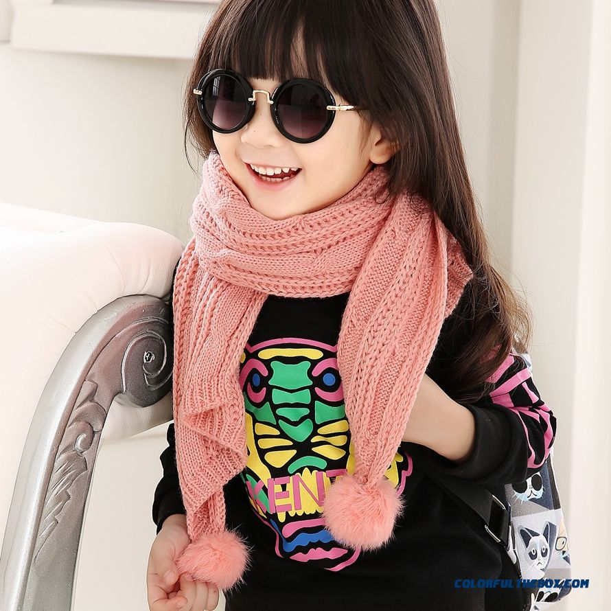 All-match Boys And Girls Long Of Wool Scarves With Hairball Lovely Tide Girls' Accessories