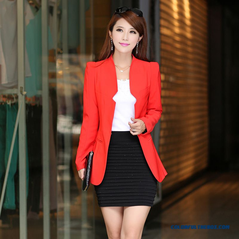 All-match Casual Fashion Clothes Suit Dark Button 7 Colors Available Women Coats