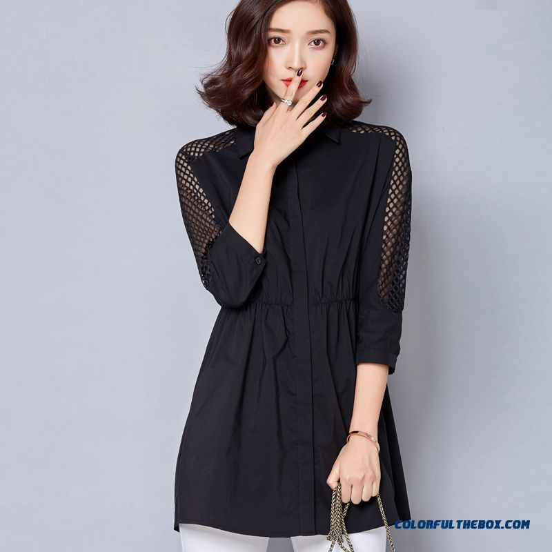 All-match Fashion High Quality Fabrics In Long-sleeved Shirt Shapped Waist Korean Version