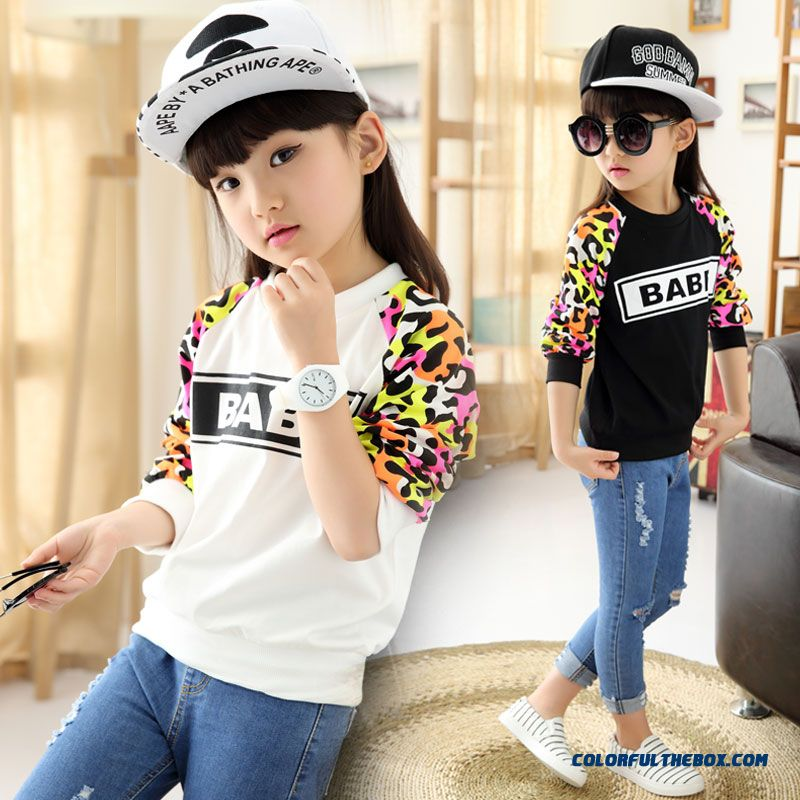 All-match Leopard Long-sleeved T-shirt Printing Korean Version Of Casual Round Neck For Girs Kids