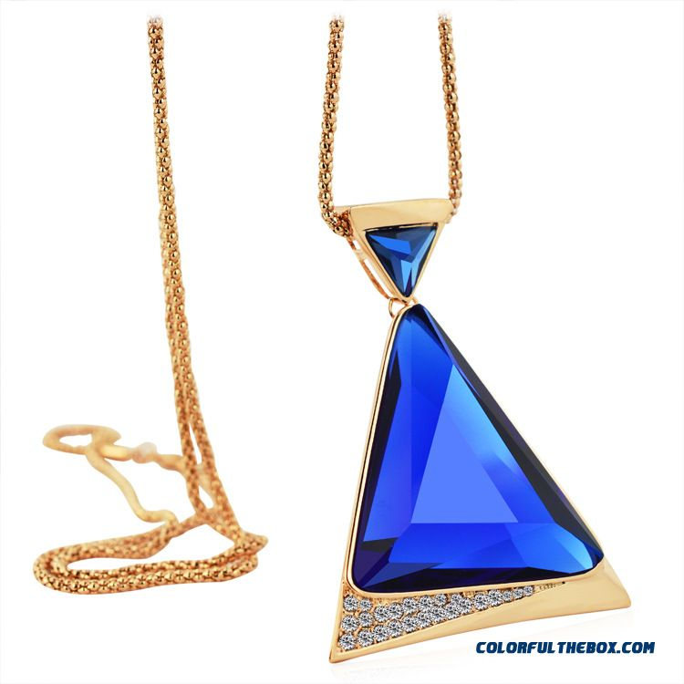 All-match Retro Crystal Teardrop-shaped Sweater Chain Long Necklace Pendant Fine Jewelry For Women