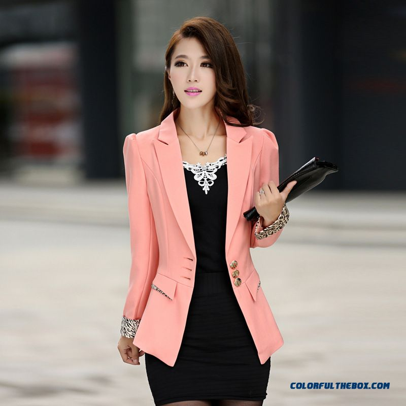 Cheap All Match Small Suit Women Candy Color Stitching Upper