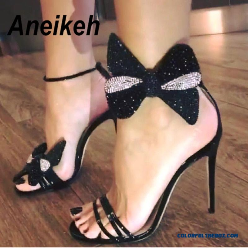 Aneikeh 2019 Summer Rhinestone Bow Women Fashion Black Leather High Heels Ankle Buckles Ladies Concise Style Sandals Party Shoes