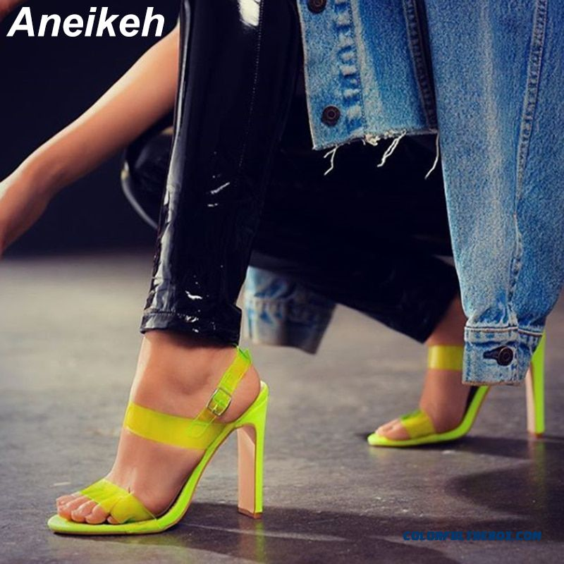 Aneikeh Fashion High Heels Peep Toe Transparent Pvc Sandals Women's Shoes Summer Pumps Womens Shoes Buckle Strap Sandalias Mujer