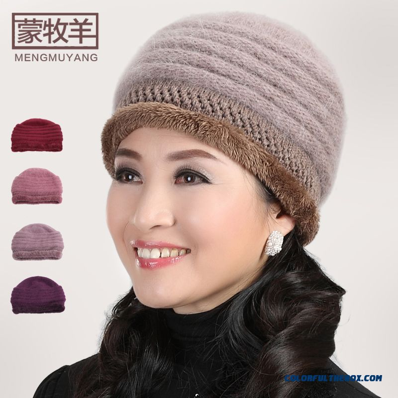 Angora Wool Knitted Cap Elderly The Elderly Hat 5 Kinds Of Color Hat Women's Accessories