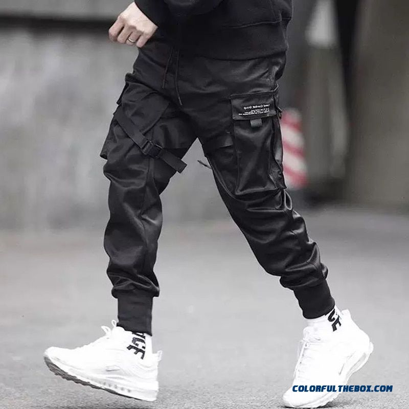 April Momo 2019 Men Multi-pocket Harem Hip Pop Pants Trousers Streetwear Sweatpants Hombre Male Casual Fashion Cargo Pants Men