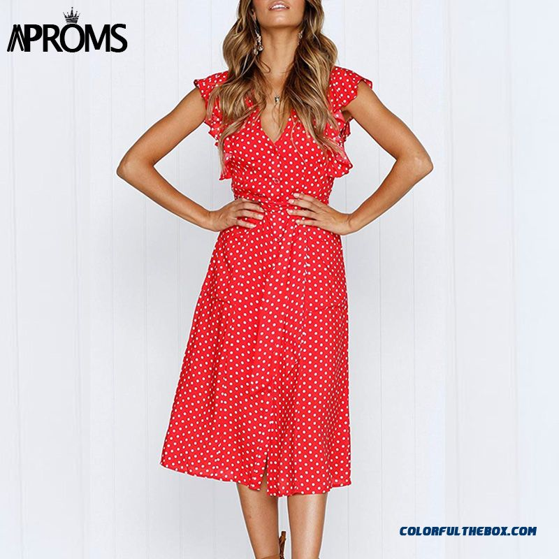 Aproms Boho Polka Dot Print Dress Women Casual Sleeveless V Neck Red Sundress Midi Dress Female Beach A-line Dress Vestidos 2019