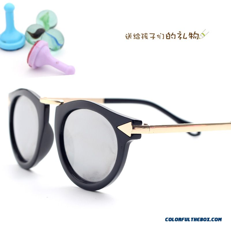Arrow Retro Fashion Children's Sunglasses Kids Dark Glasses Round Frame Sunglasses Girls Accessories