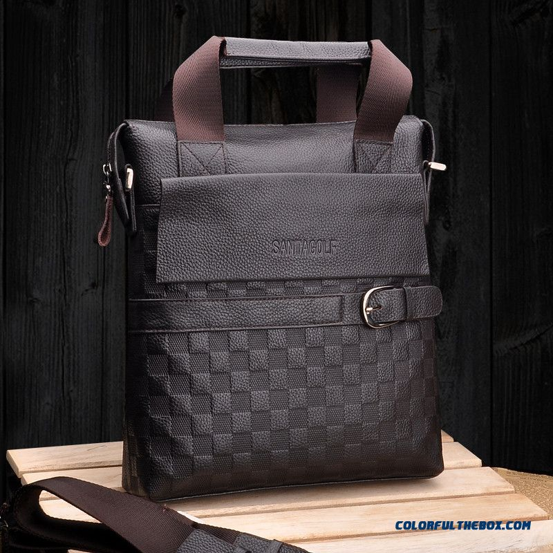 Authentic Fashion Plaid Man Vertical Bag Crossbody Bags Free Shipping